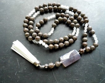 Chain, Mala, Zen, meditation, Jasper, rock crystal, agate, yoga