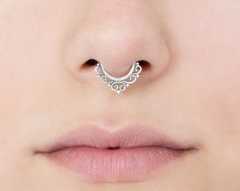 Fake Silver Septum Ring. Tiny Fake Septum Jewelry. You can choose: Gold, Sterling silver or Brass.