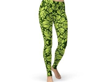 Green Leaves Nature Leggings