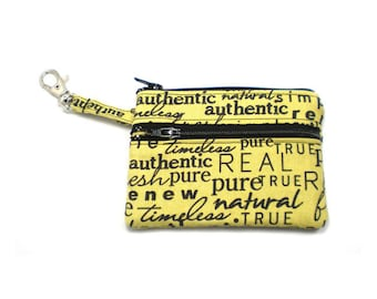 Small Zippered Wallet Change Purse Gadget Case Black Words on Pear Green 3094