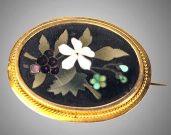 14k Victorian pietra dura brooch