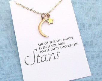 Graduation Gift   Class of 2018, Moon Necklace, Star Necklace, Inspirational College Student Gift, Medical Student Gift, Nursing Student  G9