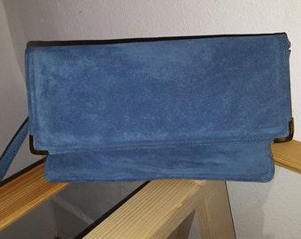 Vintage Blue Suede Leather Handbag