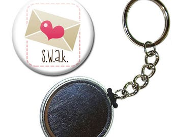 Badge 38 mm - S.W.A.K letter love heart Valentine Heart keychain