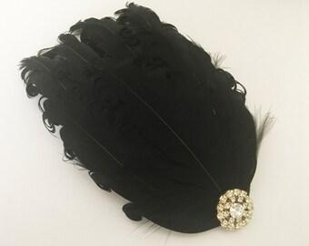 Black Flapper Headpiece - Flapper Head Piece - Gatsby Feather Headpiece - Roaring 20s Fashion - Great Gatsby Headpiece for Women -