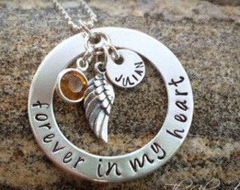 Sympathy Necklace for Bereaved - Memorial Jewelry - Forever in my Heart - Angel Wing Necklace - Personalized Name Jewelry - Personalized