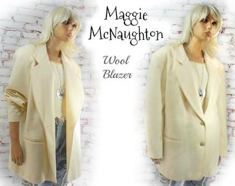 women's wool blazer  - Wool Short Coat - Winter Wedding Coat - Wool Winter Blazer - Off White Coat  -  # 112