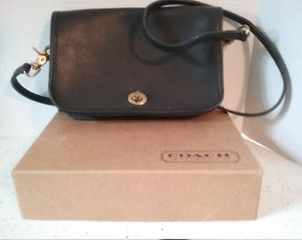 VINTAGE Coach navy crossbody bag with original box