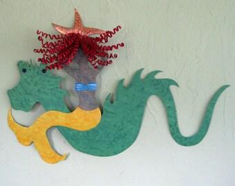 Metal Wall Art Mermaid Sea Serpent Sculpture Recycled Metal Beach House Coastal Wall Decor Green Yellow Redhead Mermaid  15 x 22