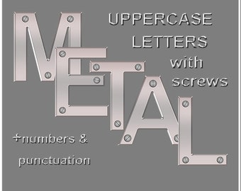 Silver metal digital alphabet clipart with screws; uppercase letters, numbers 0-9 and five punctuation marks; metal font for commercial use
