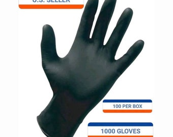 Strong Durable Black Nitrile gloves. Small - X-LARGE available, No Powder. 1000 Case. 10 BOXES. Tattoo Medical Exam grade
