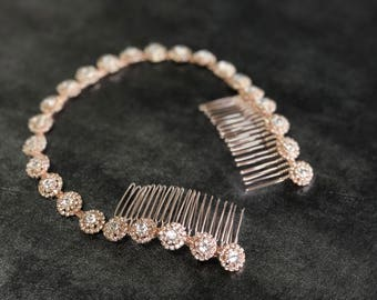Rose Gold Bridal Headband, Rose Gold Headpiece,  Rhinestone Headband, Hair Tiara, Rose Gold Hair Accessory