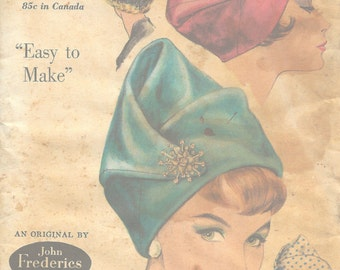 1961 Vintage VOGUE Sewing Pattern SIZE:22 HAT (1104) By John Frederics