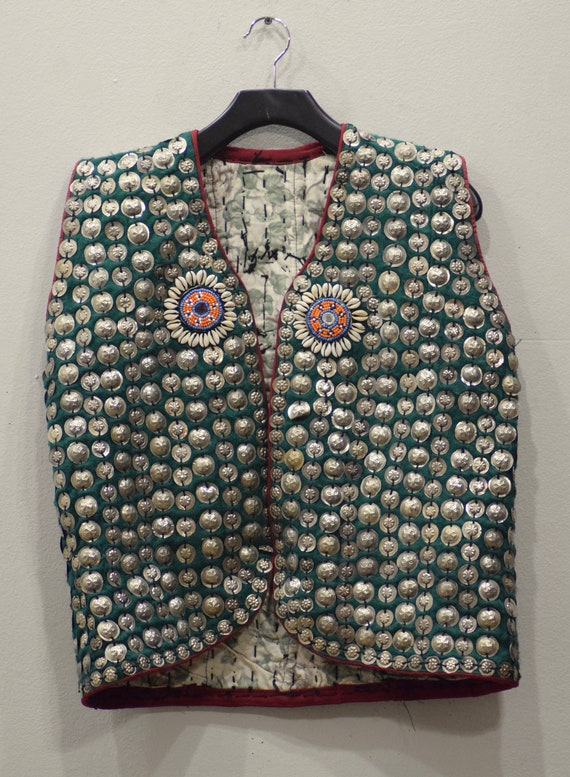 Vest Wedding Middle Eastern Green Flannel Beaded Pendant Coin Vest