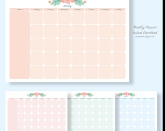 Undated Monthly Planner Printable - Month Plan - Monthly Schedule - Monthly Organizer - Planner Download - floral, PDF Instant download
