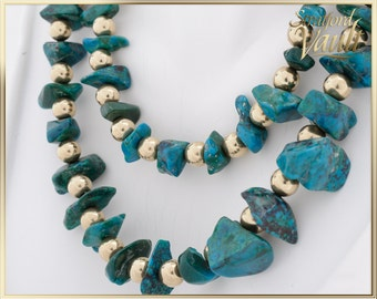 """Vintage Turquoise & Gold Necklace ~ 14K Yellow Gold Drilled Beads ~ 63 Pieces of Drilled Rough Turquoise ~ 30""""~ STR16093 ~ GIA ~ 1800.00"""