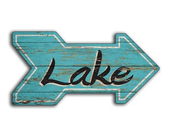 Lake wood sign wooden handmade sign Lake House Beach 16w x8h Arrow sign decor cottage resort Cabin Shack arrows wall decor sign signs