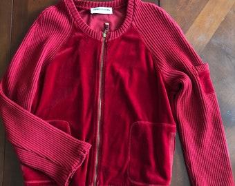 Vintage velour and wool Sonia Rykiel zip-up cardigan sweater/jacket