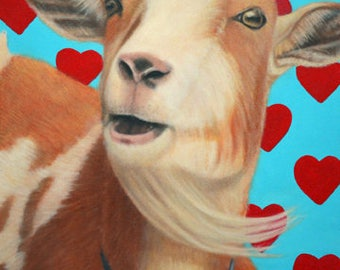 Goat Painting - Original Goat Art - The King of Hearts - All Proceeds Benefit Animal Charity
