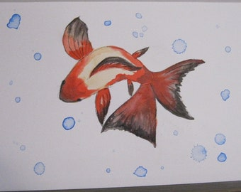 Goldfish #1 - India Ink Watercolor Painting - Original