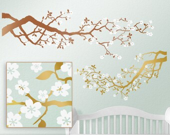 Baby Nursery Gold Tree Wall Decal - Cherry Blossoms Tree Branch for Metallic Nursery Decor - Copper & Gold Bedroom Decal (0172c18v)