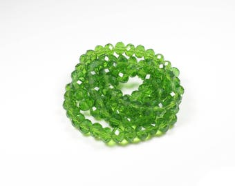 20 glass Abacus faceted green 6 x 4mm beads