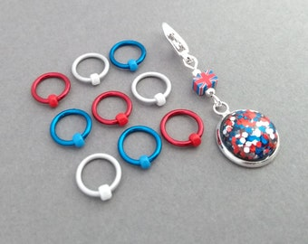 Ring Markers, non snag stitch markers, Circle Os place holder, British union jack notions for knitting, light weight stitchmarkers with pot