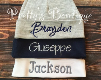 Newborn Hat Personalized with Name for Boy or Girl – 18 Colors Available