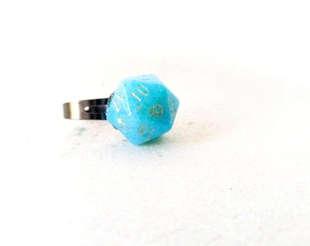 Individually cast clear resin D20 dice ring with baby blue glitter