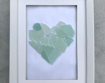 Sea Glass Heart Art