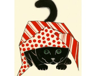 Black Cat Art print -   Black kitty red wrapping paper - 4 for 3 SALE