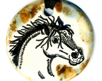 Horse Ceramic Necklace in Spotted Brown