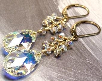 Teardrop Crystal Earrings, Gold Filled, Clear Long Swarovski Dangle, Bridal Accessory Bridesmaid Gift Bride Wedding Jewelry October Birthday