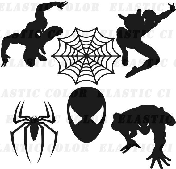 Spiderman svg clipart silhouette Spider man vector files