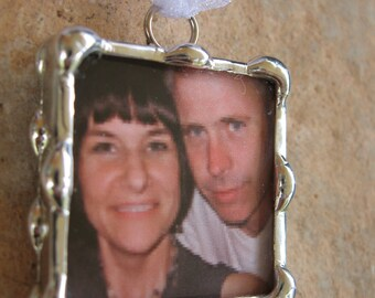 Wedding Bouquet photo charm, photo charm, soldered glass, custom made photo charm, soldered photo charm, Bouquet charm, memorial photo charm