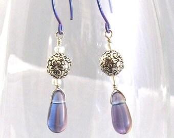 Blue Drop Earrings, Czech Glass, Flower Silver Beads