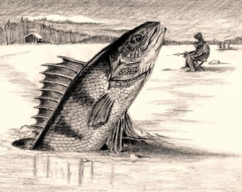 Punxsutawney Perch...On Groundhog Day 8X10 Funny Pencil Drawing Art Print by Barry Singer