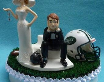 Wedding Cake Topper New York Jets NY Football Themed Ball and Chain Key Turf Topper w/ Garter Bride Groom Sports Fans Fun Humorous Unique