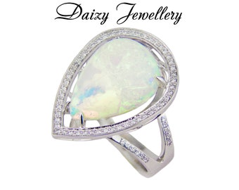 Certified 5.50 ct. White Opal And Diamonds White Gold Ring. multicolor opal ring, Ethiopian Welo Opal, multi color fire, opal cabochon