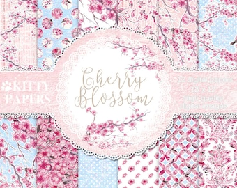 Cherry Blossom Digital Paper Pack Instant Download Spring Watercolor Flowers, Cherry Blossom digital download, Decoupage paper, printables