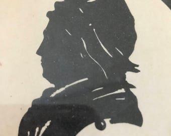 Vintage Scissor Cut Paper Art Picture - Martha Washington