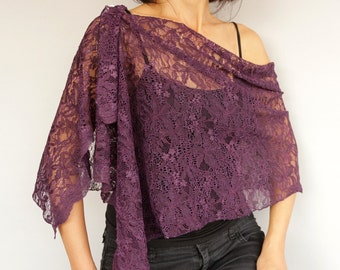 Eggplant Purple Lace Stole, Evening Dress Cover-up, Mothers Day Gift, Shawl Scarf Shoulder Wrap