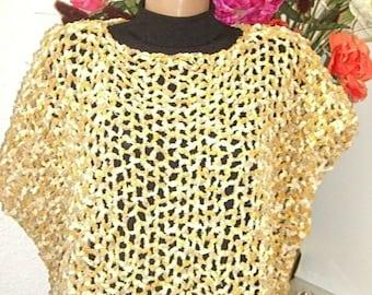 bat yellow beige poncho sweater