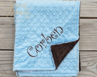 Baby Blue and Chocolate Brown Minky Blanket, Personalized Baby Blanket
