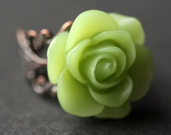 Sage Green Rose Ring. Green Flower Ring. Gold Ring. Silver Ring. Bronze Ring. Copper Ring. Adjustable Ring. Handmade Jewelry.