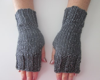 Hand Knit Fingerless Mittens/Texting Gloves - Gray Metallic  Wrist Warmers- One Size Fits All
