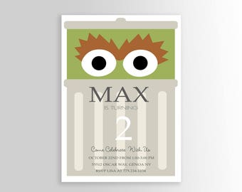 Oscar the Grouch Invitation, Sesame Street Invitation, Simple Sesame Street Invitation