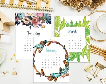 2018 Desk Calendar. Monthly Calendar & Display Case. 2018 Desk Calendar. Watercolor Calendar. Hand Drawn Calendar. Hostess Teacher