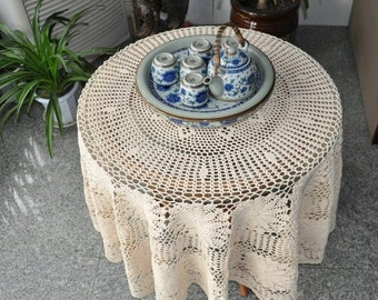 "Vintage style hand crochet beige tablecloth, 57"" Round table cover,floral table topper for home decor"