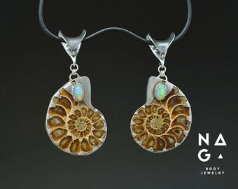 OOAK Ammonite Ear Weights with Opal